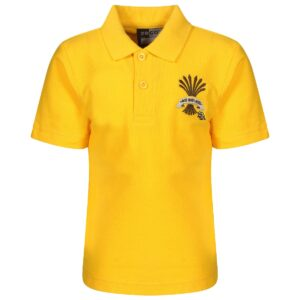 PHS Nursery + Kindergarten Gold Polo Shirt with Mouse logo.