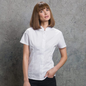 Women's Mandarin Collar Fitted Shirt Short Sleeve