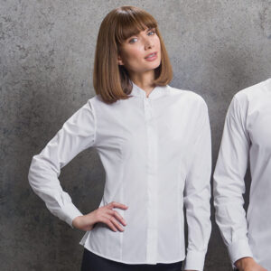Women's Mandarin Collar Fitted Shirt Long Sleeve